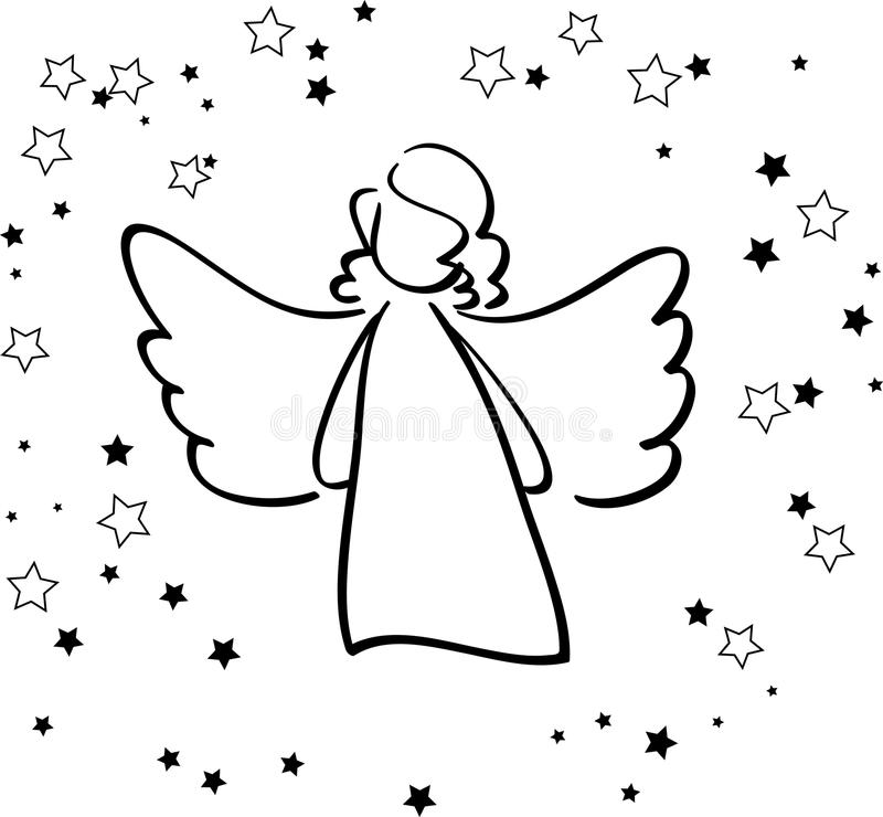 Download Angel and stars stock vector. Illustration of greetings - 37123190