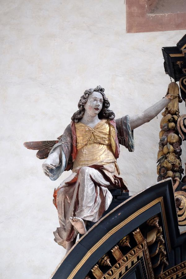 Angel, statue on the altar of the Holy Cross in Cistercian Abbey of Bronbach in Reicholzheim, Germany stock photography