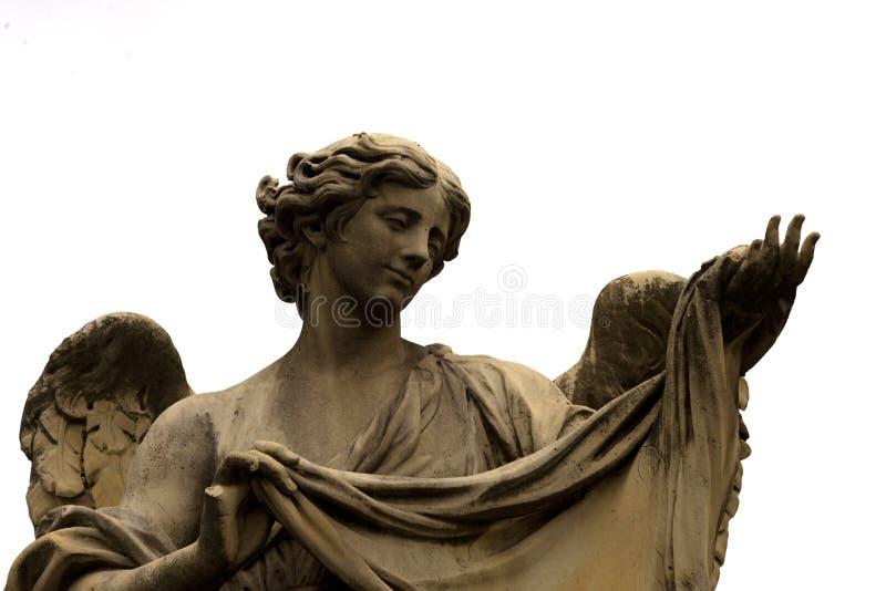 Angel Statue at Ponte Sant'Angelo. Aelian Bridge, Angel`s Bridge, Rome stock photo