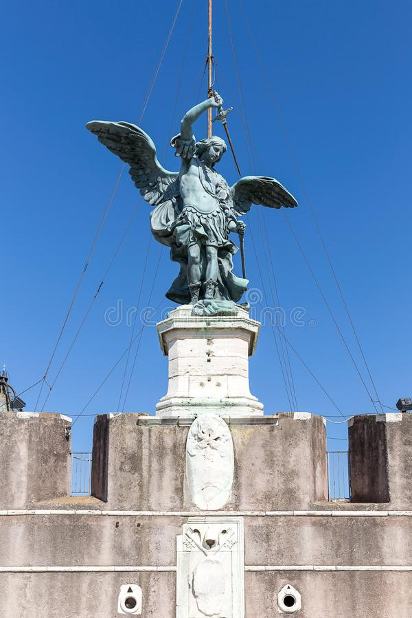Angel statue on top of Angel`s Castle in Rome, Italy. Europe stock image