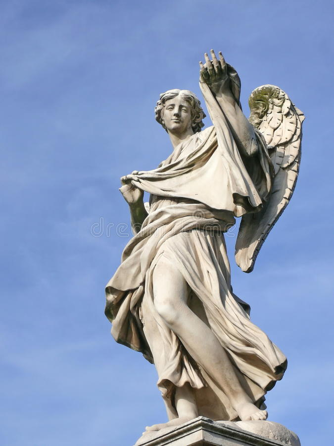 Angel with sudarium. Michaelangelo bridge. Rome. royalty free stock images