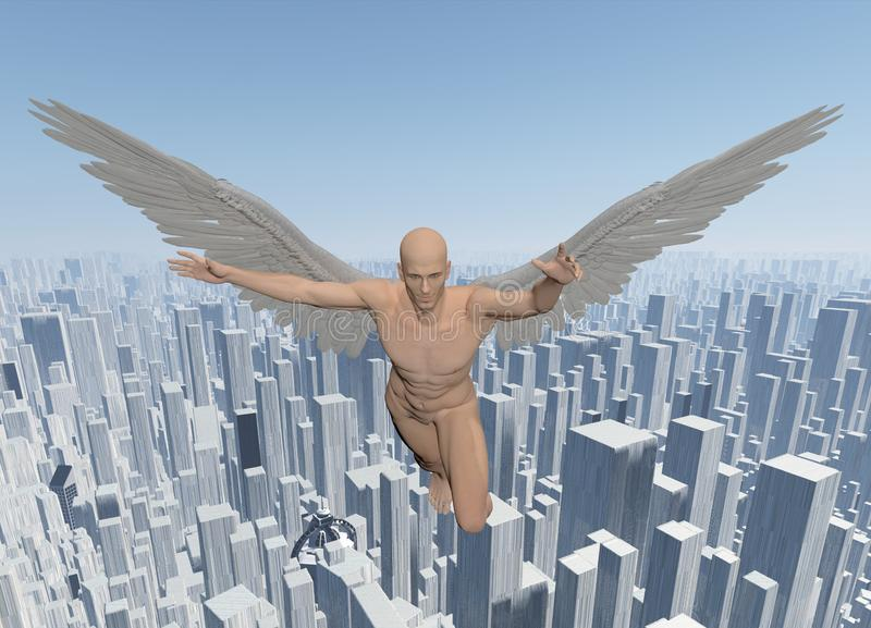 Angel. Surreal digital art. Angel. Man with white angel`s wings flies over the megalopolis. Human elements were created with 3D software and are not from any vector illustration