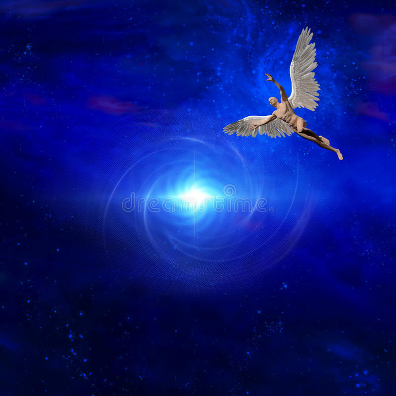 Angel. Surrealism. Bright star. Naked man with wings represents angel royalty free illustration