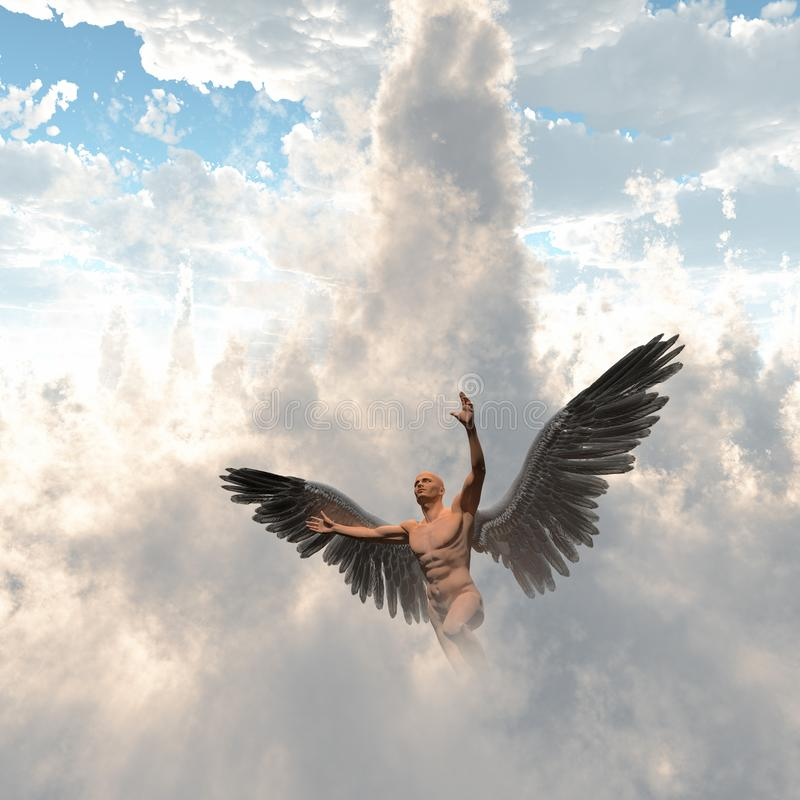 Angel. Surrealism. Man with angel wings flies in cloudy sky. Human elements were created with 3D software and are not from any actual human likenesses vector illustration