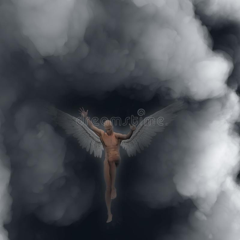 Angel. Surrealism. Naked man with wings represents angel. Human elements were created with 3D software and are not from any actual human likenesses stock illustration