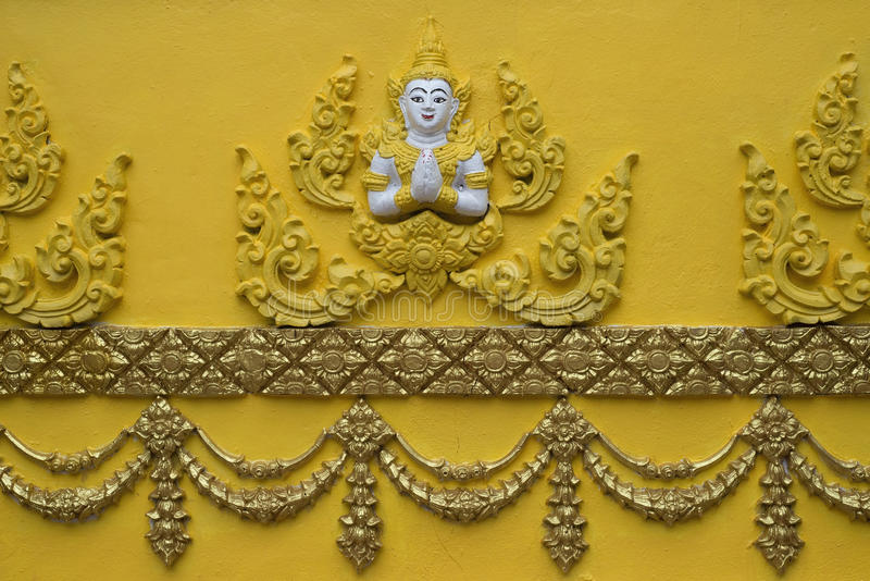 Angel on temple wall. stock photo