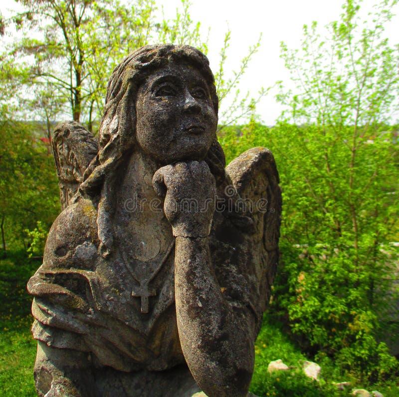 Angel in thoughts, Kamenets Podolskiy, Ukraine stock images