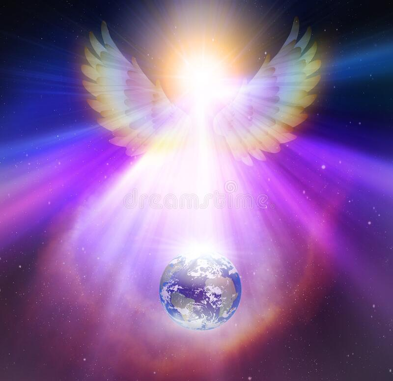 Free Angel Touch, Divine Intervention, Synchronicity, Giving Blessings, Watching Over Earth Planet In Space, Orbit, Earth Healing Royalty Free Stock Photos - 177930598