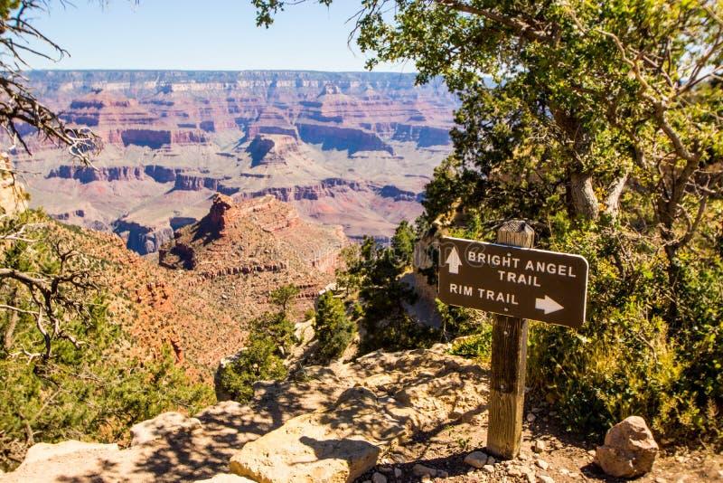 Angel Trail Sign intelligent à la jante du sud de Grand Canyon photo libre de droits