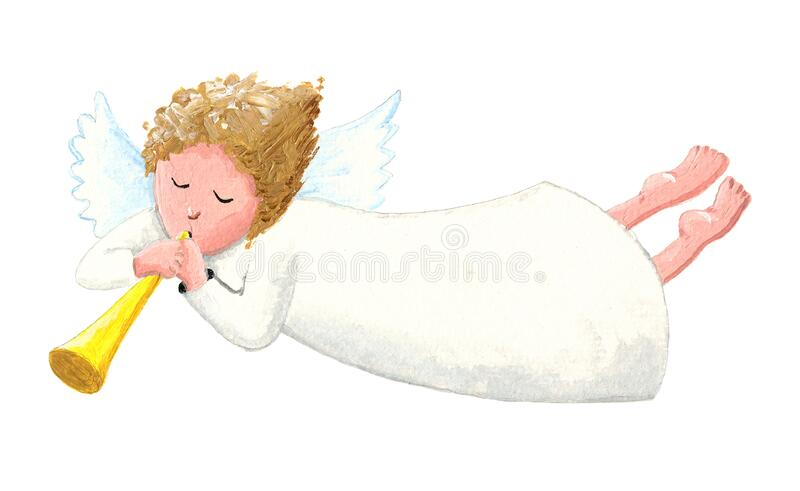 The Angel with the Trumpet. Acrylic illustration of the white Angel with the yellow Trumpet stock illustration