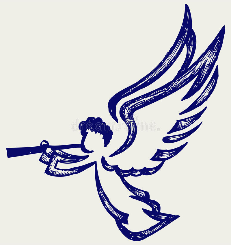 Angel with trumpet. Doodle style stock illustration