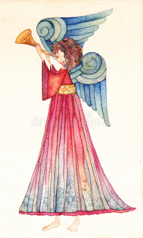 Angel with trumpet royalty free illustration