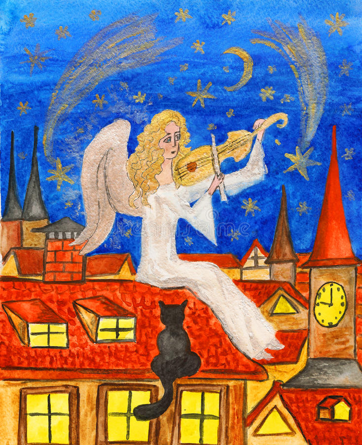 Download Angel With Violin, Painting Royalty Free Stock Photo - Image: 27639345