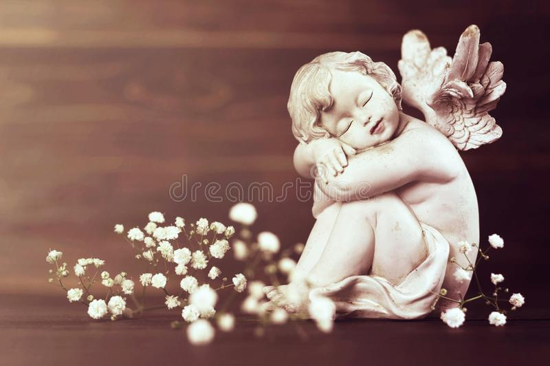 Angel and white flowers royalty free stock photos