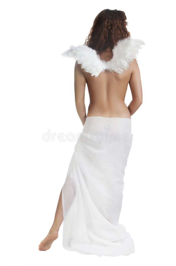 Angel with white wings (isolated). The beautiful girl with wings of the angel stock image