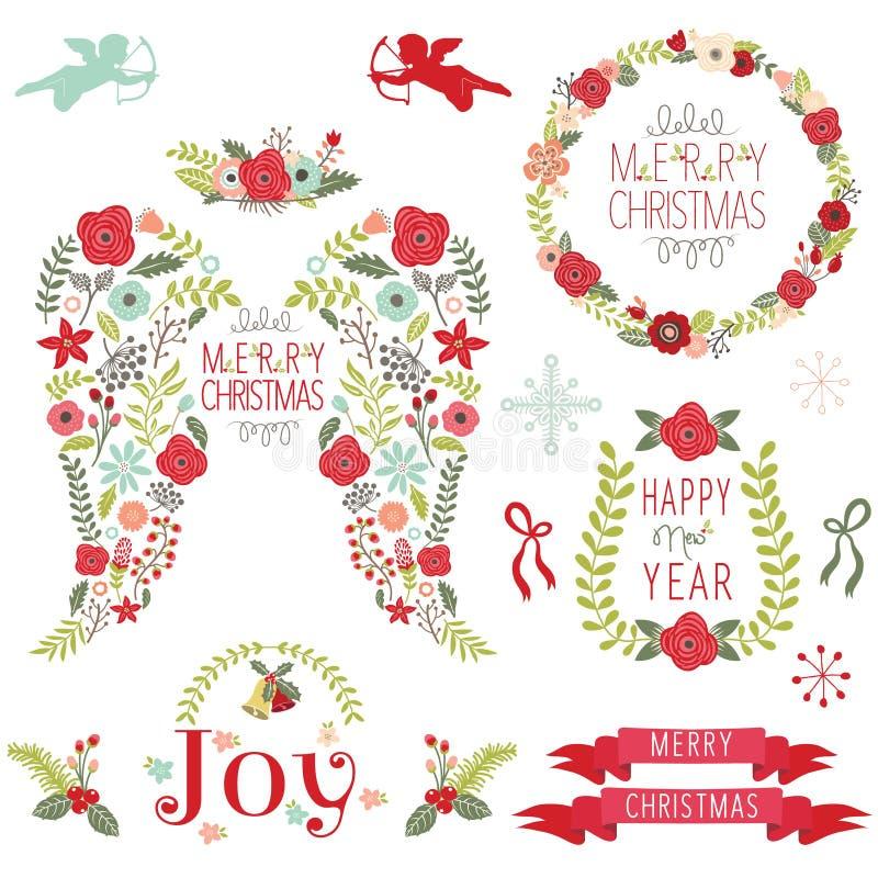 Angel Wing Christmas Elements floral ilustración del vector