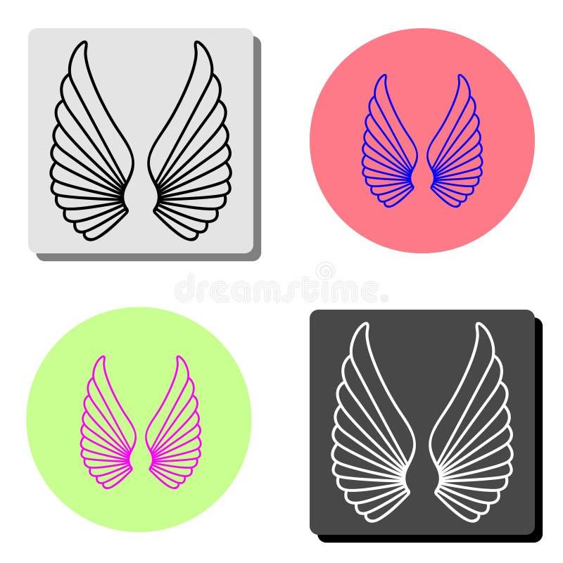 Angel Wings Ícone liso do vetor ilustração stock