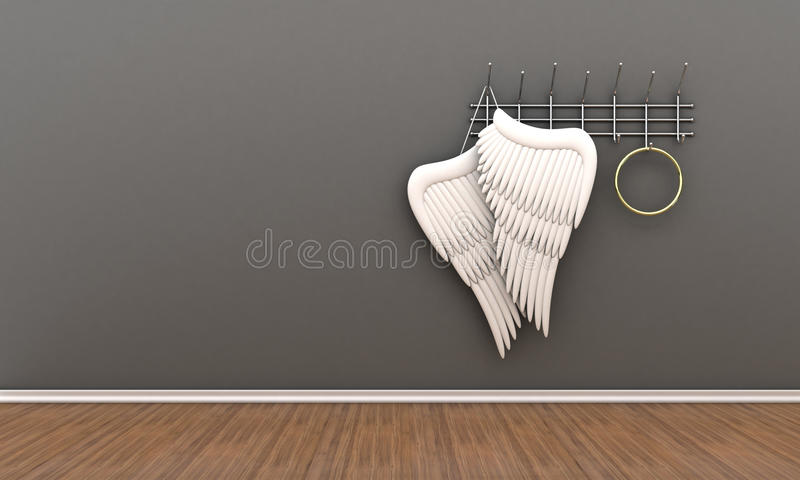 Angel wings. Illustration of wings of an angel and nimbus on a hanger royalty free illustration