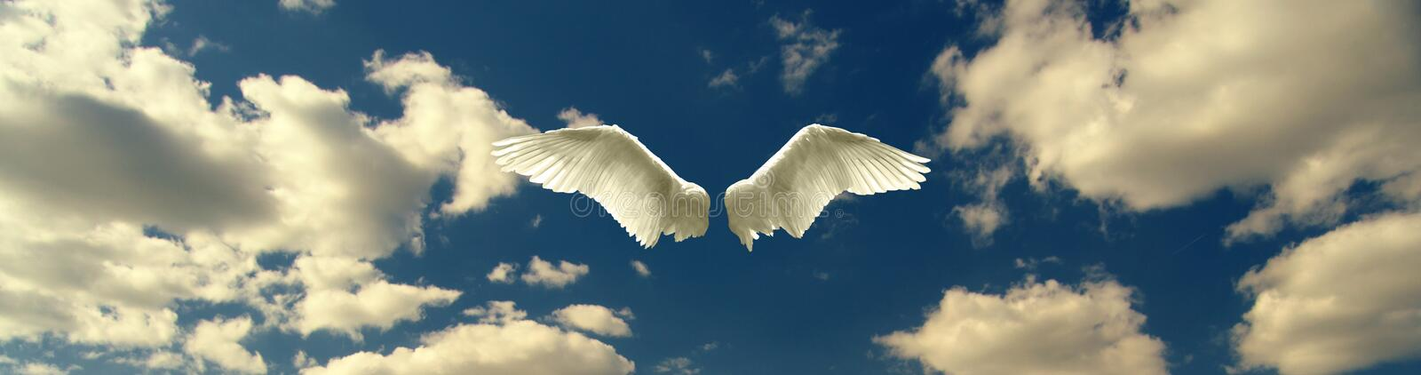 Angel wings against blue sky and white clouds on sunny day stock images