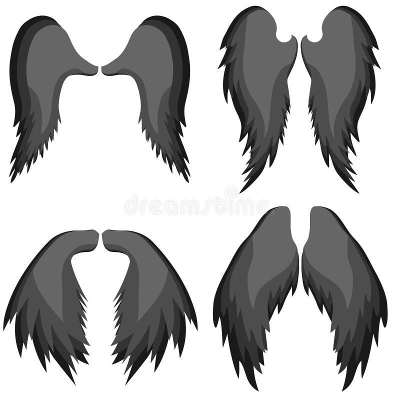 Angel Wings As asas realísticas do anjo são pretas Ícone das asas de um anjo ilustração stock