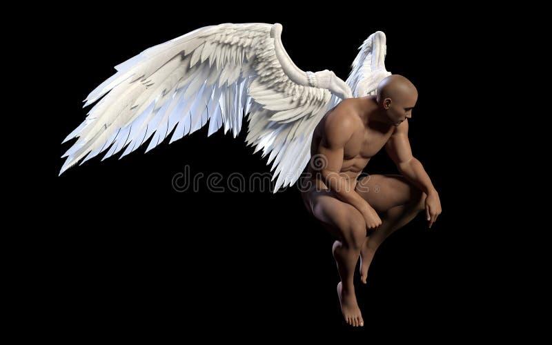 Angel Wings, asa branca com trajeto de grampeamento ilustração royalty free