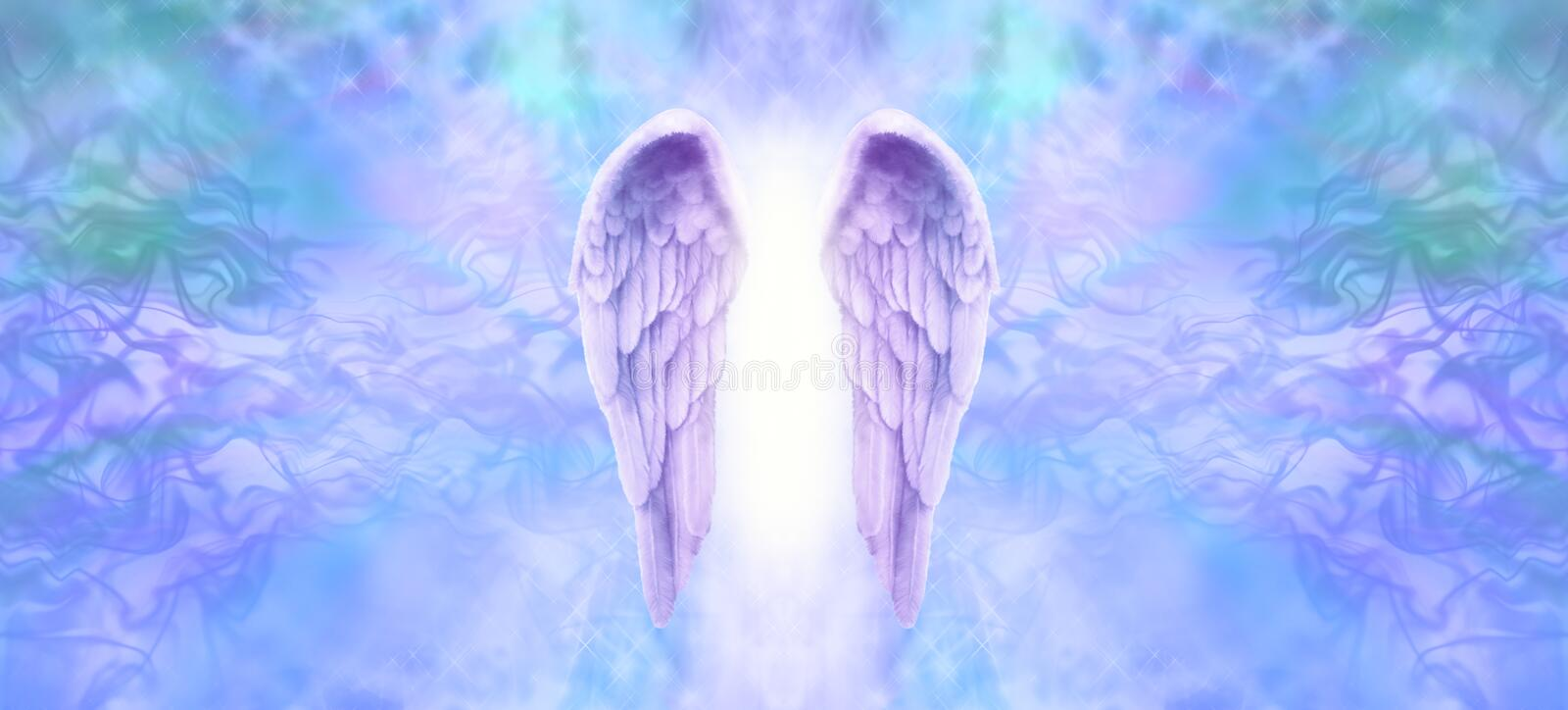 Angel Wings Banner lilla illustrazione vettoriale