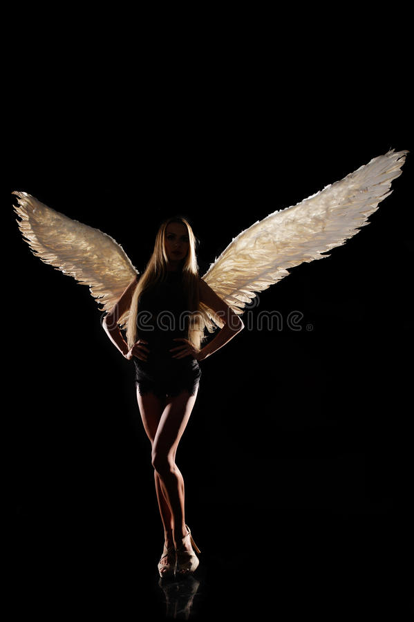 Angel with wings on black background stock image