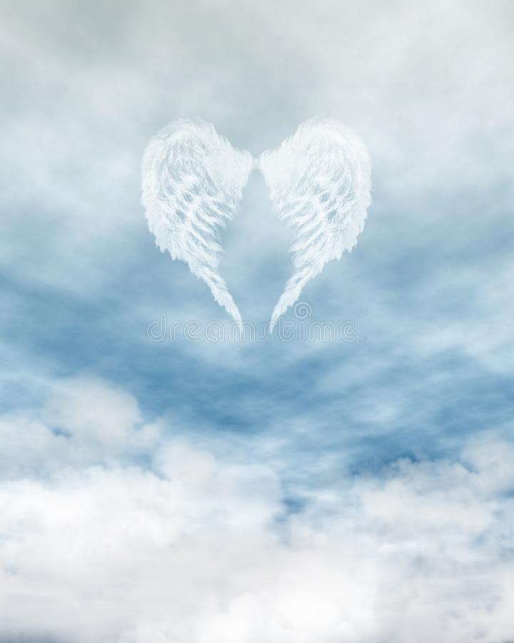 Angel Wings in Cloudy Blue Sky. White feathered angel wings forming a heart shape on a background of blue sky and clouds stock illustration