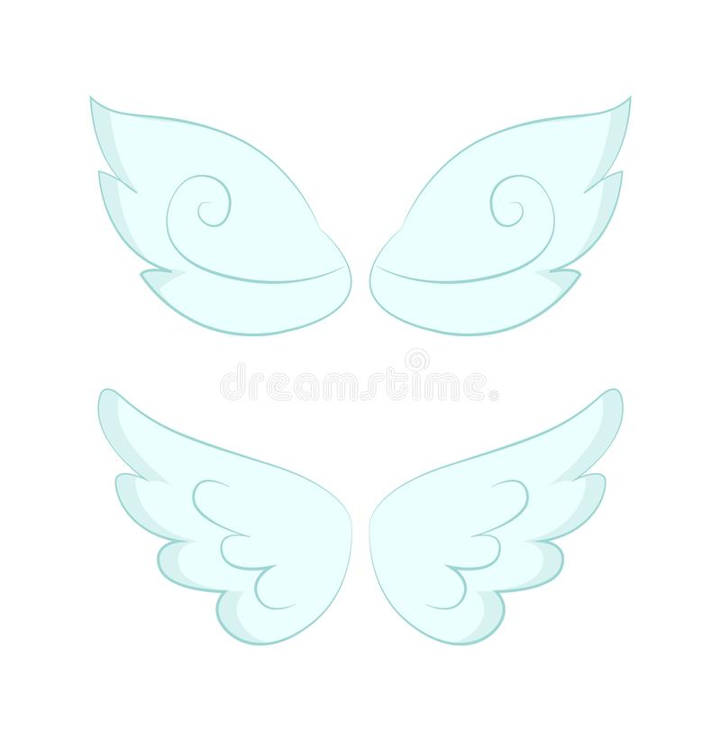 Angel Wings des plumes blanches a isolé l'objet illustration stock
