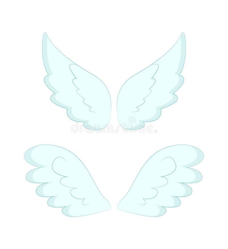 Angel Wings des plumes blanches a isol? l'objet illustration de vecteur