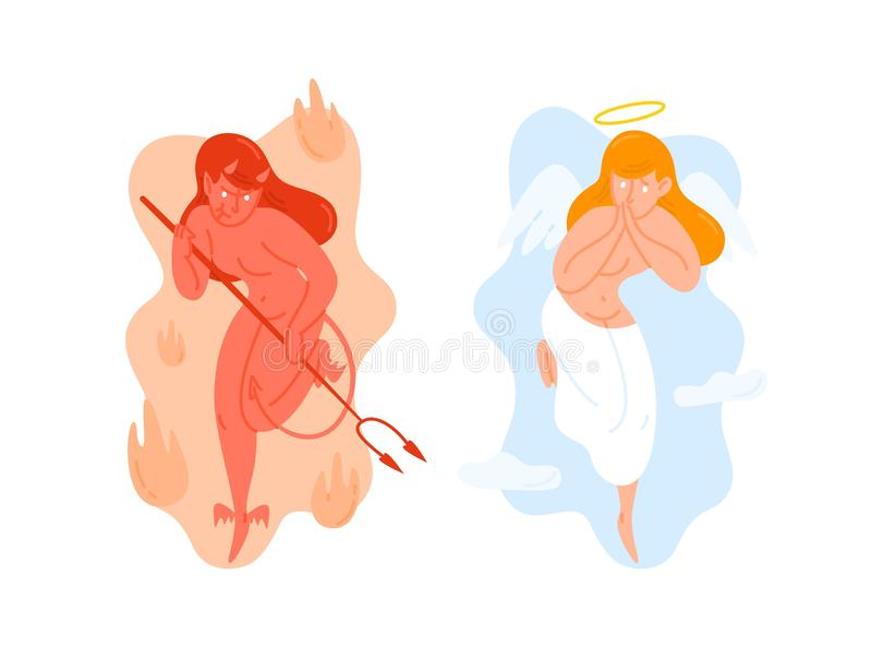 Angel with wings and Devil holding pitchfork. God and Satan. Heaven and hell creatures. Good and evil female cartoon royalty free illustration