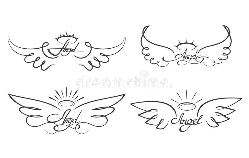 angel wings drawing vector illustration winged angelic tattoo icons rh dreamstime com angel wings with halo tattoo designs small angel wings with halo tattoos
