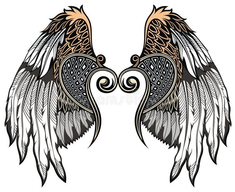 Angel Wings Elementos do projeto para o logotipo ilustração stock