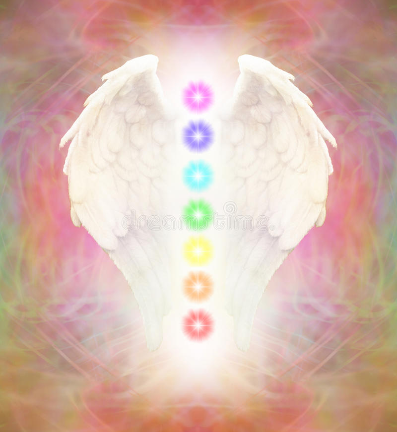 Angel Wings et sept Chakras illustration stock