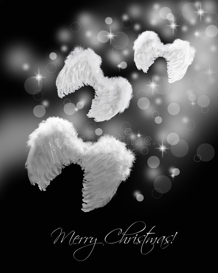 Angel wings flying on stardust trail. Christmas greeting card on black royalty free stock image