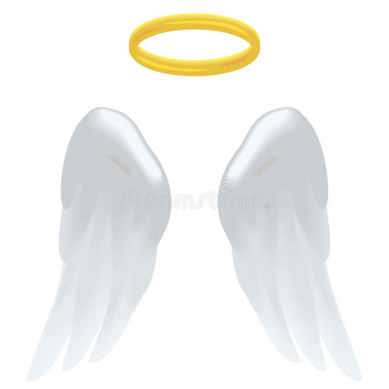 Angel wings and halo. Angel wings and a halo isolated on white royalty free illustration