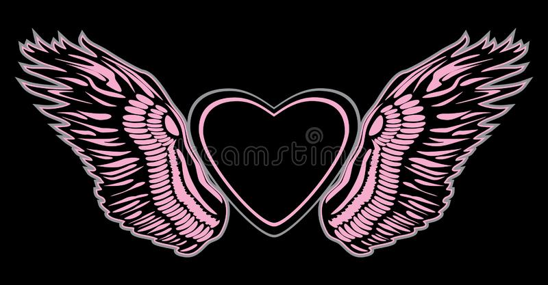 Angel wings with heart on black background. Sign for design royalty free stock photo