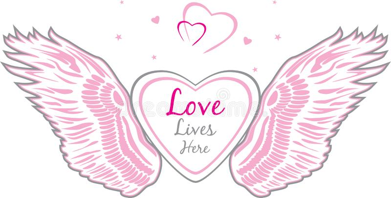 Angel wings with heart. Sign for design stock images