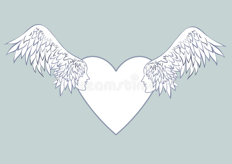 Angel wings with a human face in the frame in the shape of a heart. Pale blue background.Beautiful wedding cards or the stock illustration