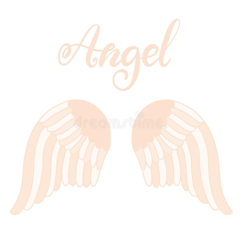Angel wings icon with hand lettering word angel stock illustration