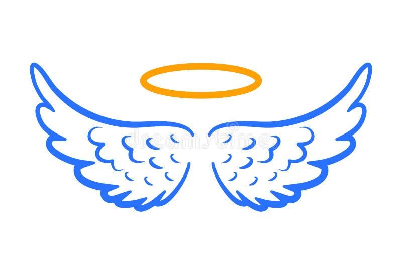 Angel wings icon with nimbus – vector. Angel wings icon with nimbus – stock vector royalty free illustration