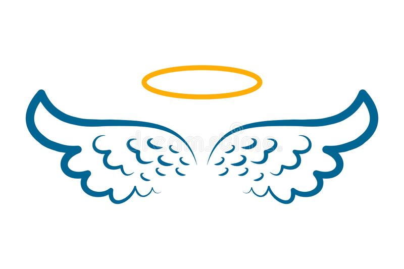 Angel wings icon with nimbus - stock illustration
