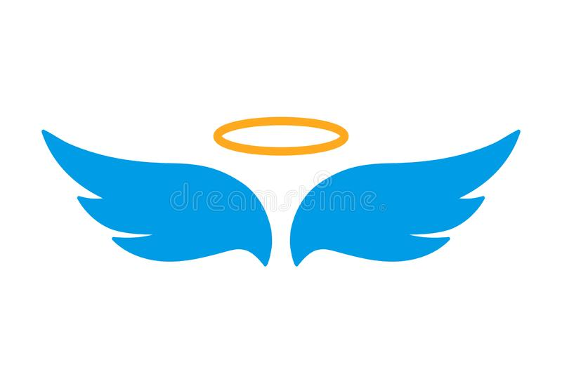 Angel wings icon with nimbus - for stock vector illustration