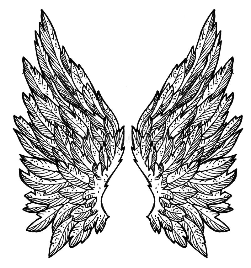 Angel wings - ink drawing royalty free stock images