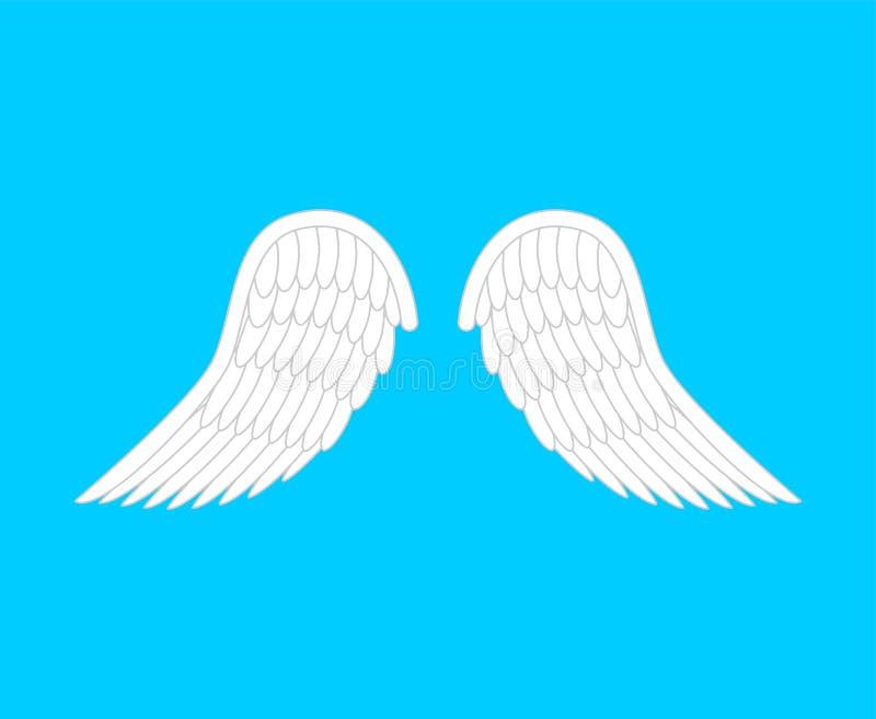 Angel Wings Isolated Asas do pássaro da pena branca Ilustração do vetor ilustração stock