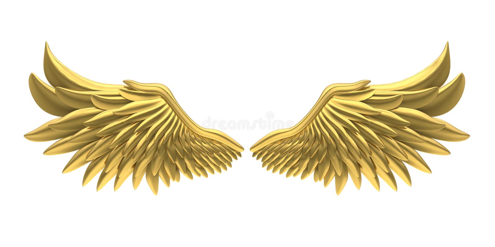 Angel Wings Isolated d'or illustration stock