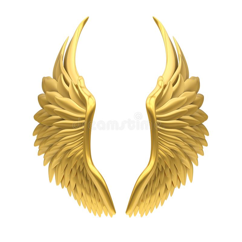 Angel Wings Isolated d'or illustration libre de droits