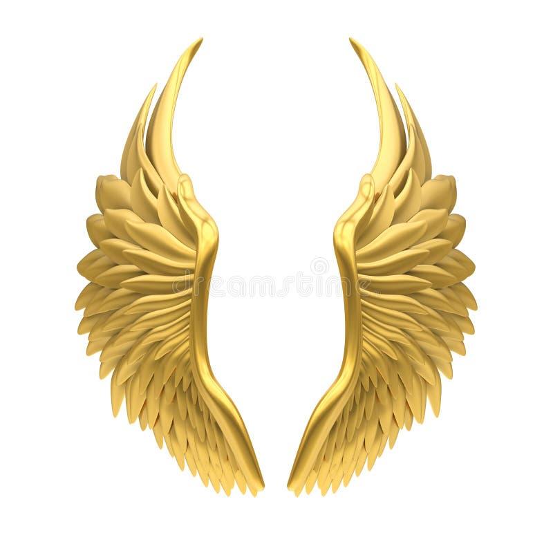 Angel Wings Isolated dourado ilustração royalty free