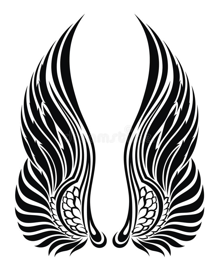 angel wings isolated on white tattoo design stock vector rh dreamstime com