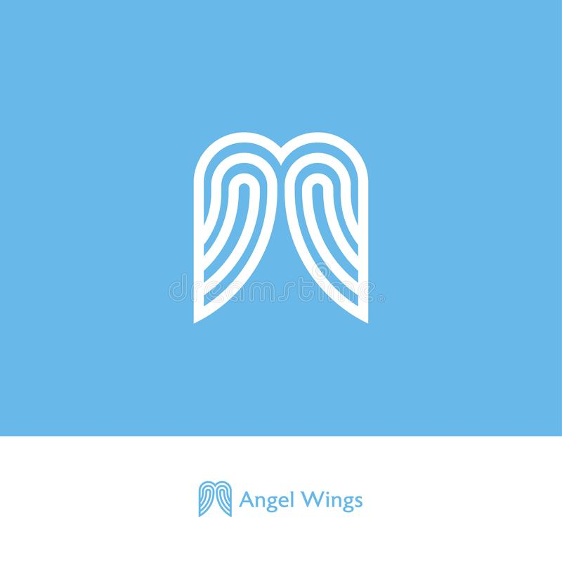 Angel wings logo. Logo from ribbons or strips, isolated on a blue background. Web, UI Icon stock illustration